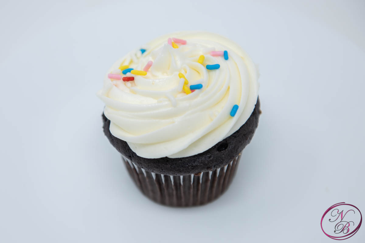 Chocolate W/ Vanilla Frosting Cupcake